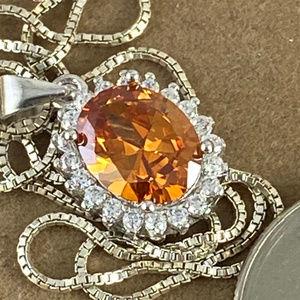 Gem Emporium Jewelry - Champagne Sapphire Pendant 16 in Italian Box Chain